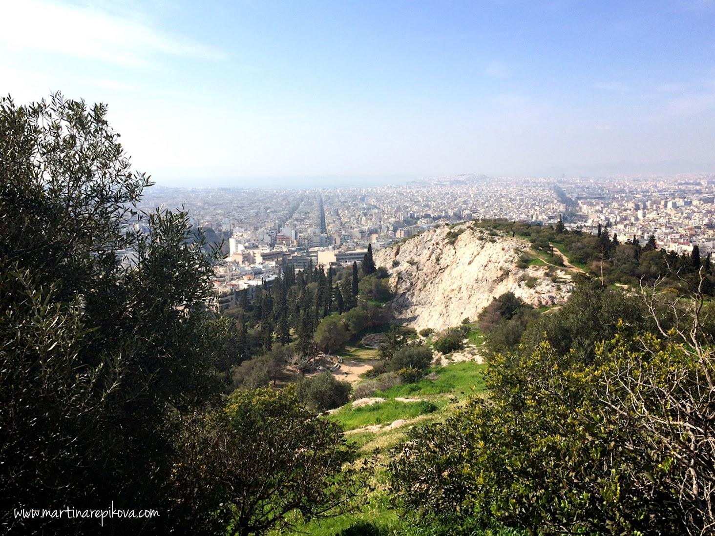 View from the Filopappou hill towards the seaside, Athens, Greece