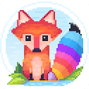Pixel Fox - Color by Number Family Coloring Book