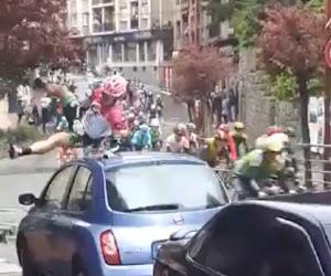 ? Ploegmakker van Sep Vanmarcke knalt pardoes tegen geparkeerde wagen en ontsnapt aan tragedie