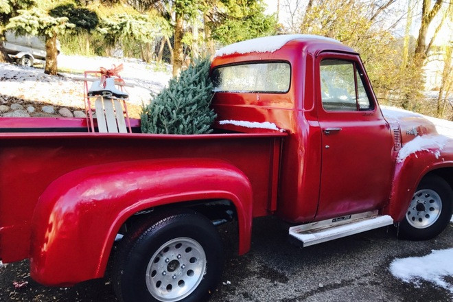 Candy apple red 1955 Ford F100 pickup truck Hire MN 55391