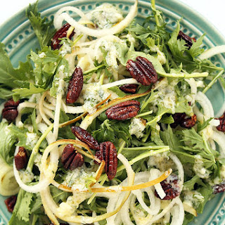 Pear Noodle, Mizuna Greens and Spiced Pecans with Parsley-Goat Cheese Vinaigrette.