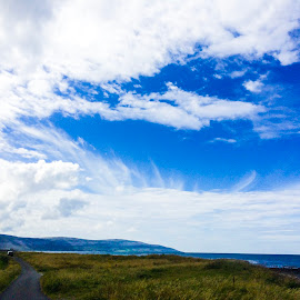 Gap in the sky by Raymond Fitzgerald - Landscapes Cloud Formations ( sky, blue sky, blue, hills, clouds )