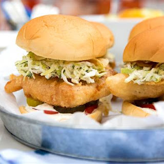 Fried Fish Sandwiches with Spicy Tartar Sauce.