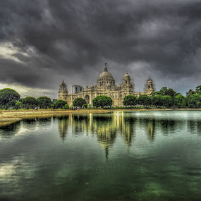 Victoria Reflection by Kallol Bhattacharjee - City,  Street & Park  Historic Districts ( canon, clouds, water, reflection, hdr, british, green, white, lake, architecture, museum, dark, victoria, black, sx50hs,  )