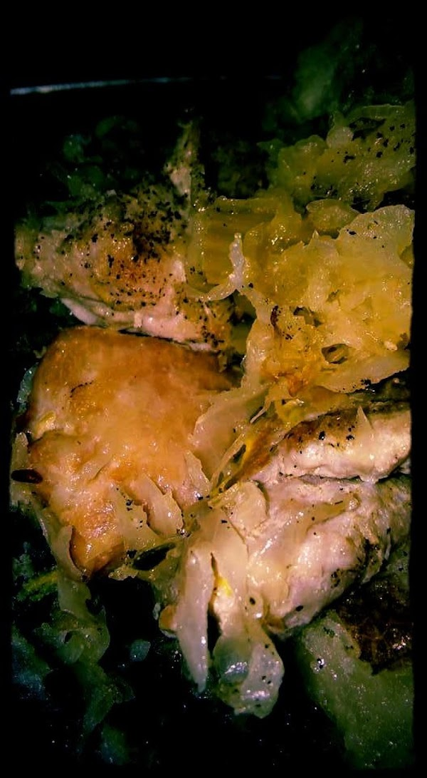Saute' the onions and apples in the butter.  Brown them (be careful not...
