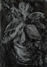 """Photo: 'House Plant, 3', 1st draft, 21cm x  29cm, 8"""" x 11.5"""", 2012, Moleskine folio Sketchbook, oils.  Not to be undone by black, I begin again. A lighter black wash, and quickly brushing the main forms out of it."""