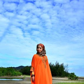 Zest of Life by Anis Ghazalli - People Fashion ( orange, fashion, jubah, muslimah )