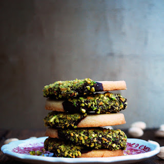 Secretly Spicy Pistachio and Chocolate Dipped Shortbread Cookies