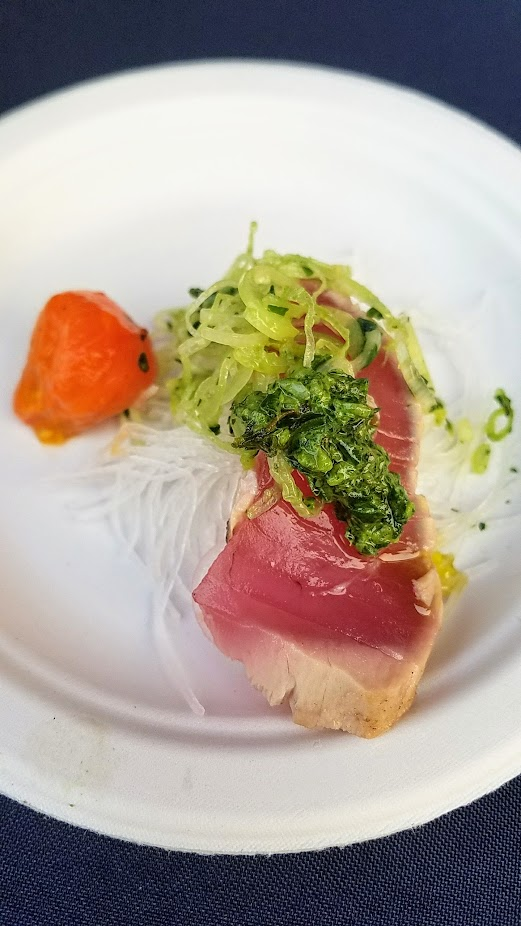 Review of Feast PDX Smoked 2017, Jin Soo Yang from Bamboo Sushi gave us a break from the cooked meats with seared Skipjack or octopur with Wasabi Chimichurri and Late Summer Salad