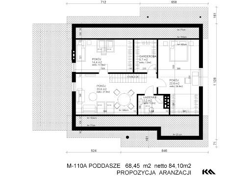 M-110 - Rzut poddasza - propozycja adaptacji - wersja A