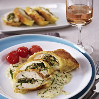 Chicken and Mushrooms Pastry Pockets with Mustard Sauce.