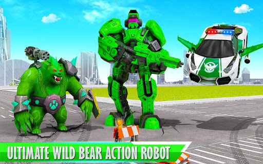 Bear Robot Car Transform: Flying Car Robot War modavailable screenshots 6