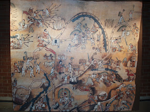 Photo: Here's one of the maps depicting the conquest of the indigenous people by the Conquistadors.