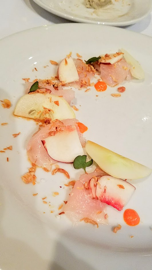 Feast Portland 2016 Twisted Filipino Dinner Kinilaw: red snapper, nectarine, lemon cucumber, fermented fresno chili, sugar cane vinegar paired with 2013 Columbia Winery Chardonnay