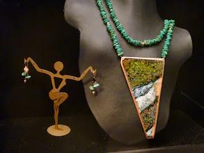 Photo: <BEREHYNYA> {Great Goddess Protectress} unique one-of-a-kind statement jewellery by Luba Bilash ART & ADORNMENT  THE GRAND CARPATHIANS - ПРЕКРАСНІ КАРПАТИ - copper enamel pendant, turquoise, rose gold vermeil SOLD/ПРОДАНИЙ