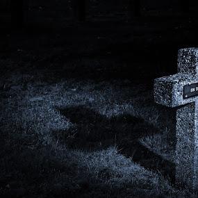 Unknown by Gerd Moors - City,  Street & Park  Cemeteries ( lightpaiting, cold, blue, dark, grave, light,  )
