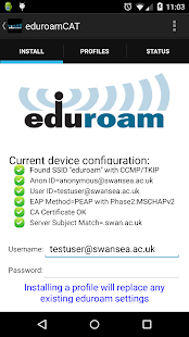 eduroam CAT – Miniaturansicht des Screenshots