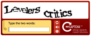 ReCAPTCHA box, displaying two words that you have to enter