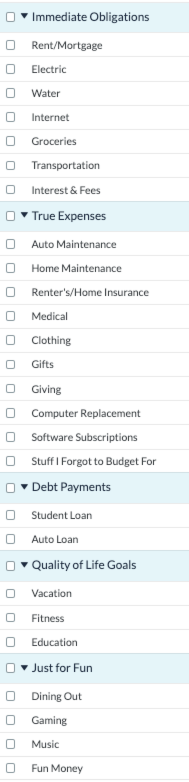 How Many Categories Should I Have YNAB? Default category list