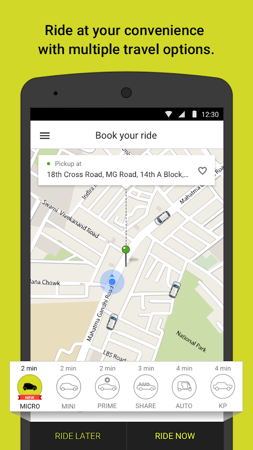 Screenshots of Ola cabs for Android