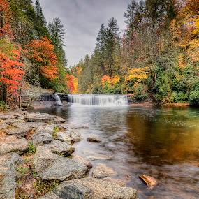 Hooker Falls NC by Lawayne Kimbro - Landscapes Mountains & Hills ( orange, reflection, stream, mountain, waterfalls, fall, waterfall, river,  )