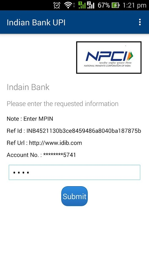 Indian Bank UPI- screenshot
