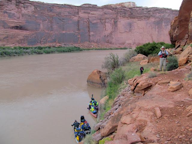 Checking out a stock trail that follows the river below Keg Spring Canyon