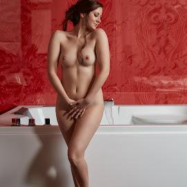 Bathroom by Michael Strobl - Nudes & Boudoir Boudoir ( boudoir, sensuality, nude, pretty girl, bathroom )