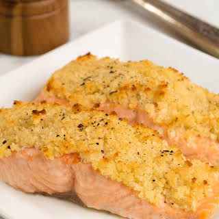 Horseradish and Crumb Crusted Salmon.