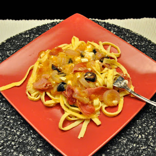 Egg Noodles with Yellow Tomato Sauce.