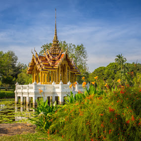 Shrine on the Lake by Toni Laird - Buildings & Architecture Places of Worship ( bangkok, temple, shrine, park, lilies, parks, thailand, lake,  )