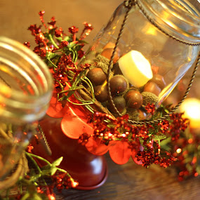 An Angle on Candles by Debbie Jones - Artistic Objects Glass ( centerpiece, candle, winter, christmas, angle,  )