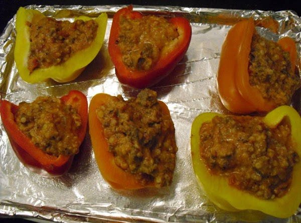 Carefully stuff peppers with beef mixture.  Bake for about 25 minutes.