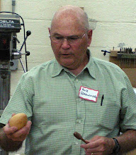 Photo: Bob Browning laid a wooden egg(!) and also made a honey dipper and a small plate and bowl (not shown).