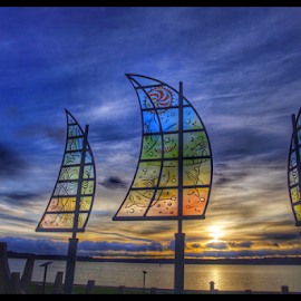Glass sails by the lake in Vänersborg Sweden by Eva Larsson - Artistic Objects Glass ( glass art sails artwork sky sunset )