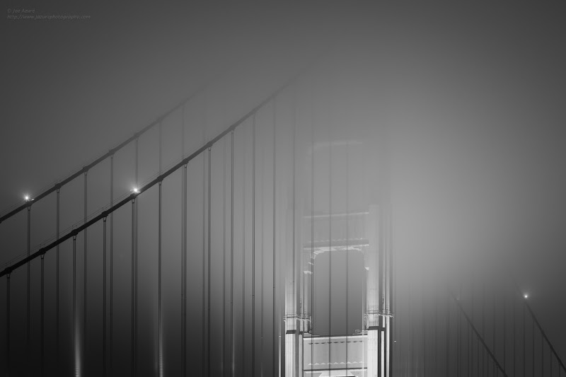"Photo: New Image: ""Disappearing""  When hunting fog at the Golden Gate Bridge, I am usually looking for fog that is from around the car deck and below. Very often though, the fog is higher and covers the tops of the towers instead. It does not mean that you can not still make interesting and pretty images, so go out and shoot it anyway :) - With Google+ going public and the new feature that allows the sharing of circles, I have many new people who have added me to a circle. Thanks to all of you. Take a look around this Golden Gate Bridge photo album and feel free to check out my others as well.  This should give you a feel for the types of images I produce and share here on Google+. I also periodically post about photo events here around the San Francisco area as well as tips about techniques, gear, locations etc. If these kinds of things are not of interest to you, I understand completely :) If they are, then Welcome! I look forward to sharing and interacting with you.  As always, I welcome comments, criticism, discussion, sharing, +1s :) ~joe"