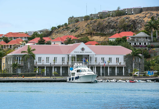 "liberte-egalite-fraternite.jpg - The government building in Gustavia Harbour bears the coat of arms and the French motto ""Liberté, égalité, fraternité."""