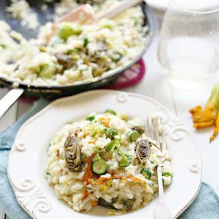 Zucchini Blossom and Artichoke Risotto