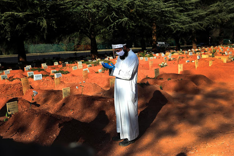 The gravesites of South Africans who succumbed to Covid-19 at Westpark Cemetery, Johannesburg on June 28 2020.