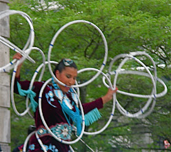 Photo: Lisa Odjig, First Nations hoop dancer, at Canada Day festivities