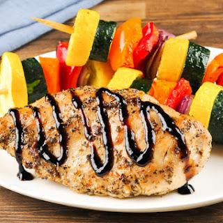 Tuscan Chicken with rainbow vegetable skewers