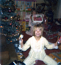 Photo: I have no idea what I'm holding in my hands, but you can see the box for Mod Ken by my knee, and my sis has a Barbie vanity case and the townhouse!