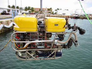 Photo: Dockside ballasting of NURTEC's Kraken2 ROV prior to the FLOSEE II mission
