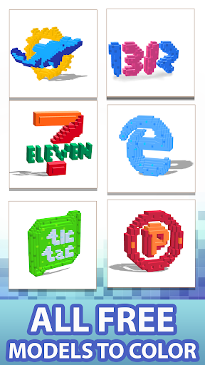 logo 3d color by number: voxel coloring book pages screenshot 1