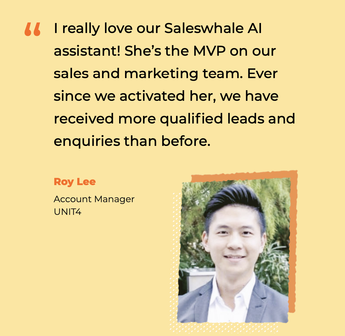 Customer testimonial for Saleswhale's AI Assistant