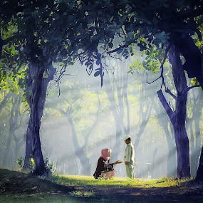 Conversation by Amril Nuryan - People Family ( calm, ray, frame, tree, nature, moms, family, mom and 'kid', rol, morning, light )