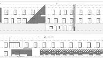 Alzado de la residencia de mayores de Mojácar, de estilo sencillo y huecos cuadrados.