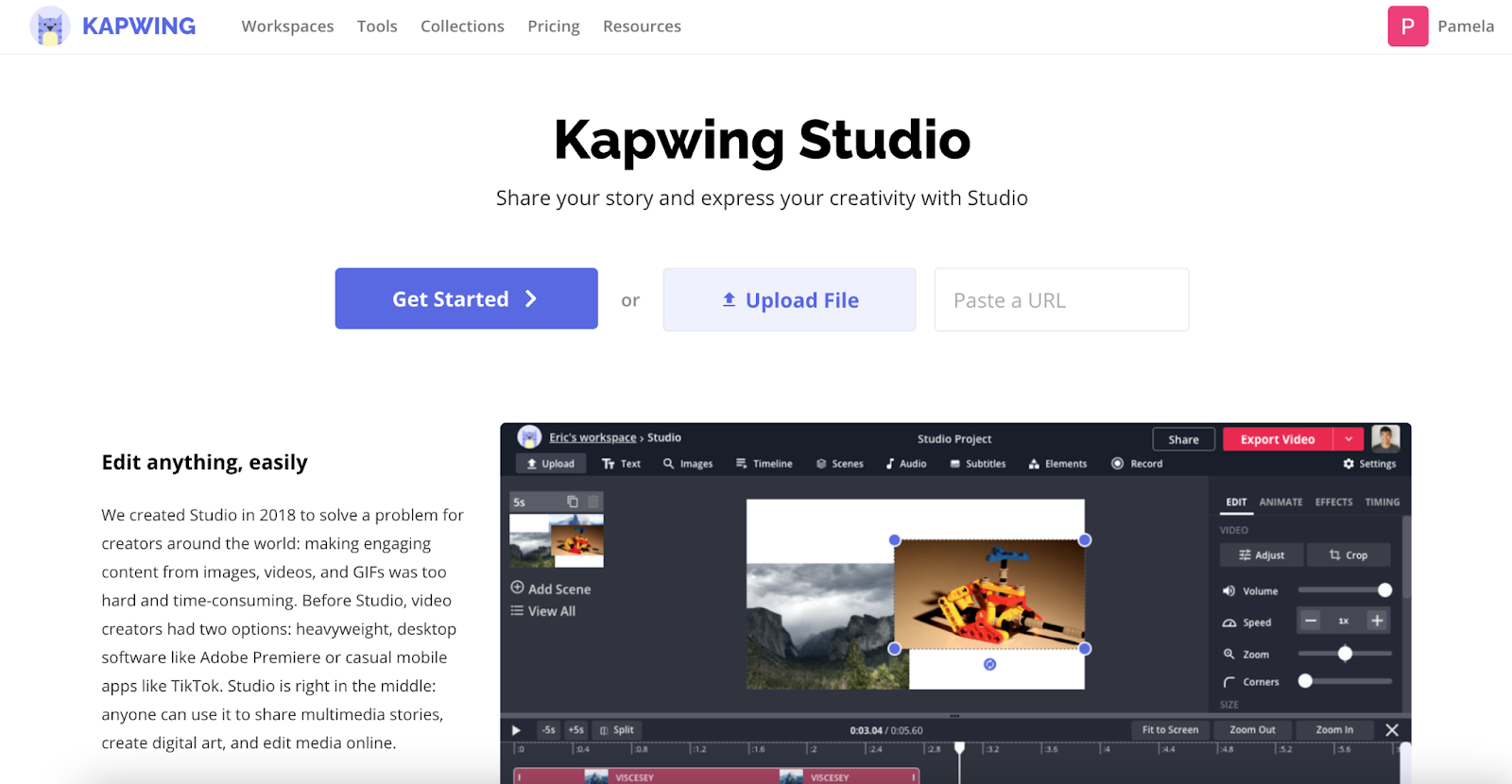 Kapwing Studio Homepage with a Get Started, Upload, and URL paste box