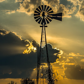 Not Forgotten by Bob White - Buildings & Architecture Decaying & Abandoned ( love, farm, old, sunset, silouet, windmill, photooftheday )
