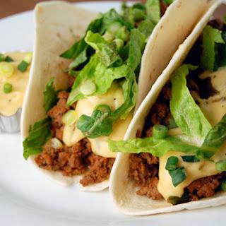 Chorizo, Poblano & Beef Tacos w/ Pepper Jack Cheese Sauce.